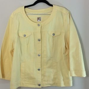 JM Collection Yellow Jean Jacket 3/4Sleeves Size L